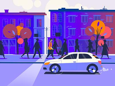 Street / Morning / NOVEMBER house sun cards work morning street autumn november people flat line character color vector colorful art inspiration creative illustration