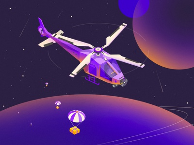 Gifts from the UNIVERSE ! colorful planets globe gifts design vector art inspiration creative illustrations isometric illustration isometric helicopter universe