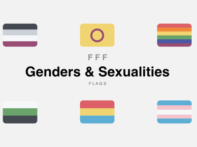 FFF Genders & Sexualities vector icons pack iconset icon set icons design fat flat genders sexuality lgbtq lgbt equality diversity flags
