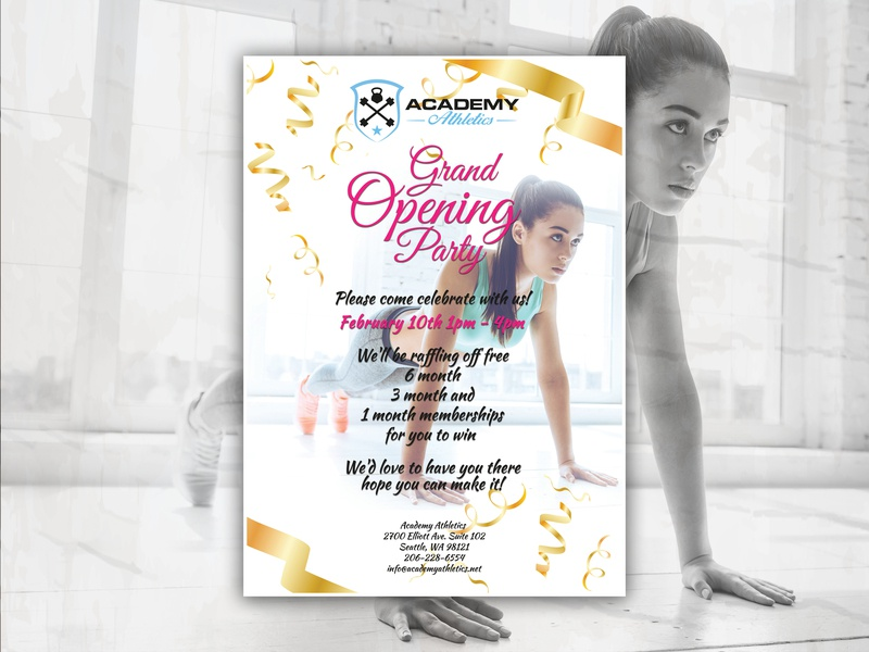Academy Athletics Grand Opening Flyer lifestyle weight loss workouts workout wellness fit fitness gym gym logo grand opening flyer template flyer artwork flyer design flyers flyer