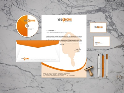 YOUROOMS - Flatshare rubberstamp logotypo letter identity hause envelope disk card business branding brand rooms