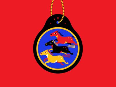 Big Herd horse design vector color illustration