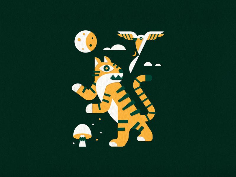Tiger, Magpie, Sacred Fungus vector illustration design color
