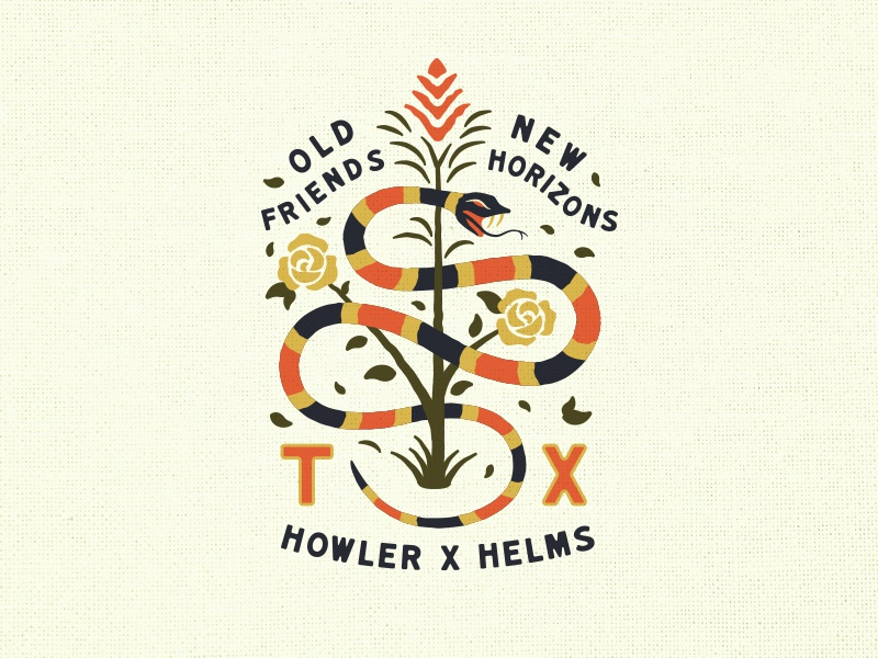 Howler X Helms Collab embroidery patch pattern collab snakes clothing branding design apparel