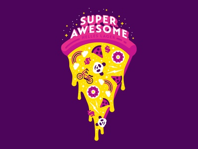 Super Awesome 'Za awesome color pizza branding illustration beer