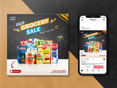 Social media post Design ( Grocery item ) grocery store manager advantage ads instagram illustration facebook add design add pi-salman branding banner graphic design