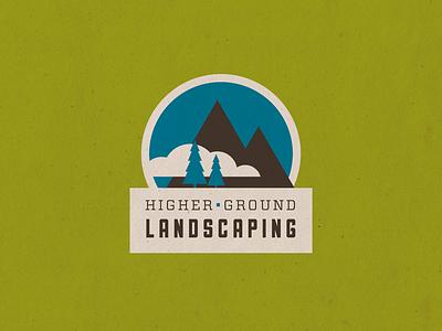 Higher Ground Landscaping Logo 2 badge logo mountains trees icon landscaping sullivan vitesse