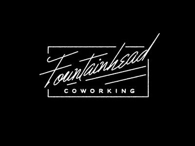 Fountainhead script logo script badge lettering typography stamp neutra face stroke retro