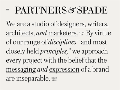 Partners & Spade Website studio agency type web typography responsive web design typography