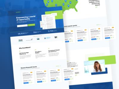 First Shot!!! - Landing page for GrantWatch saas b2b userexperience userinterface layout modern xd illustration grants minimal website web app design branding ux ui