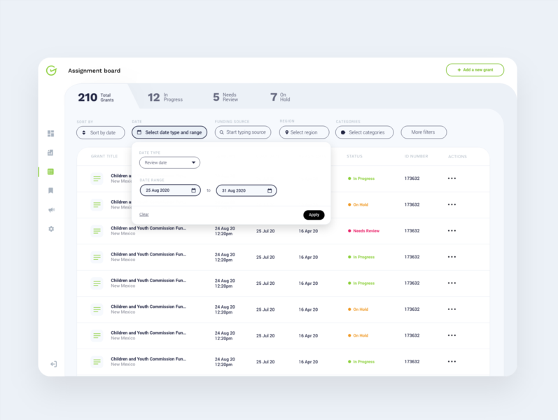 Assignment Board task management managment user interface cms table ui table minimalist interfacedesign interface product design tabs dates filters clean dashboard tasks list assignment board ux ui