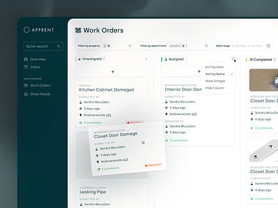 AppRent // Work Orders // KanBan View uiux product design app web ux userexperience clean b2b saas ui