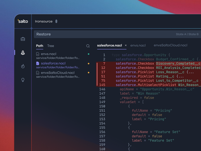 The Diff | Dark Mode | Salto inspector sidebar menu tree path code editor business operations devops bizops salesforce compare thediff clean softwareasaservice saas git codepen github development code