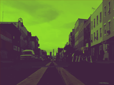 Psychedelic Brooklyn psychedelic grey green world trade