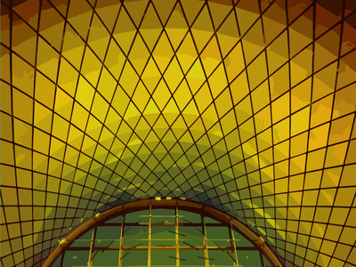 Psychedelic Fulton Skylight psychedelic green yellow subway mta nyc