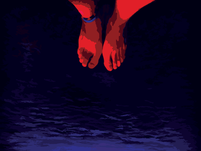 Psychedelic Footsies - Holbox island purple red blue water feet psychedelic