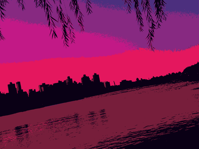 Psychedelic Skyline skyline lavender purple pink nyc psychedelic