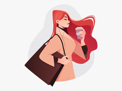 Coffee & Shopping | E-commerce character illustration graphic design cartoon texture shopping potrait illustrator illustration happy flat illustration flat design women girl coffee character design character vector illustration online shopping ecomerce design stylized character girl illustration