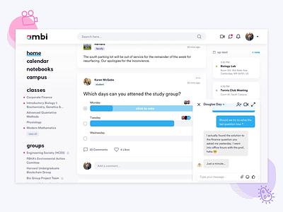 Ambi: Chat UI app web motion class student unversity college design icons illustration desktop chat messaging education school productdesign ux ui