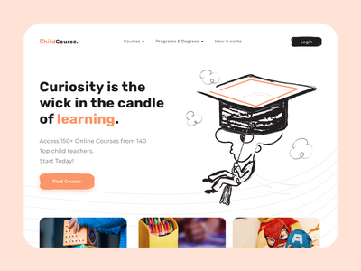 ChildCourse Platform illustration color courses userinterface user interface dribbble user experience design clean ux ui