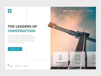 Construction Website website user interface dribbble user experience design clean ux ui