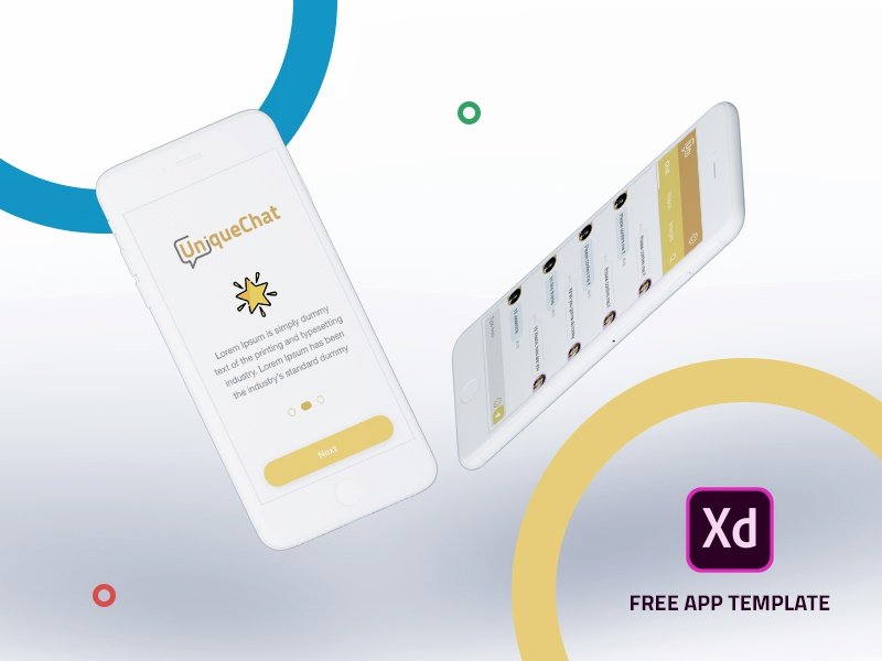 Free App Template dribbble user experience ux ui clean designm chat unique adobe xd template free app