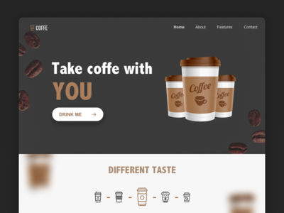 Coffe landing page dark ux ui clean web design page landing coffe