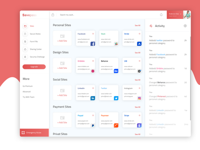 Freebie LastPass Design Concept userexperiance digital userinterface dashboard color dribbble design clean ux ui