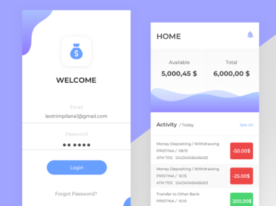 Bank Wallet mobile app user interface dribbble user experience design clean ux ui