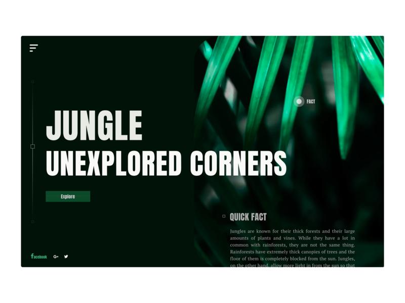 Unexplored Jungle - Web Concept jungle nature explore information design user interface dribbble user experience design clean ux ui
