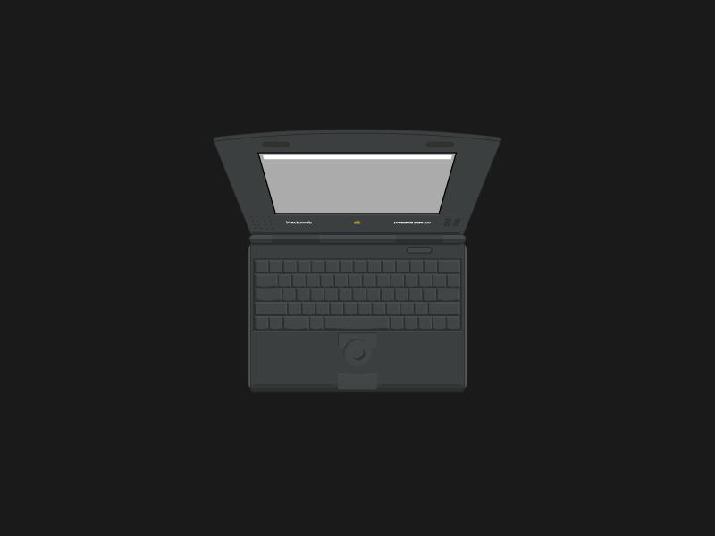 Powerbook Duo 210 laptop graphic illustration