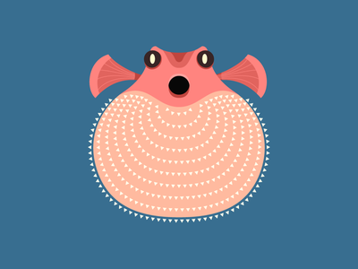 Puffer fish repetition flat illustration pufferfish vector fish