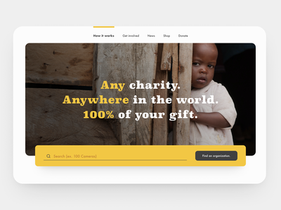 30 Day Challenge - Day 11 non profit nonprofit poverty kid search giving back giving donation charity 30daysofdesign 30daychallenge 30 day challenge hero image hero section hero website web design webdesign ui