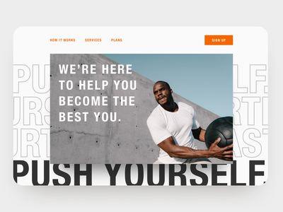 30 Day Challenge - Day 27 condensed type condensed font concierge crossfit exercise fitness hero section hero image hero 30 days of design 30daysofdesign 30 day challenge 30daychallenge web design website web ui design ui