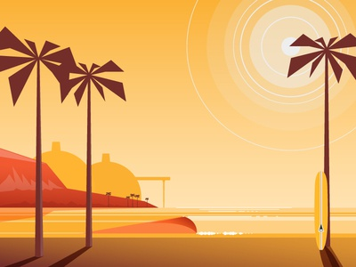 Save San O beach waves ocean palm trees california illustration longboarding surfing