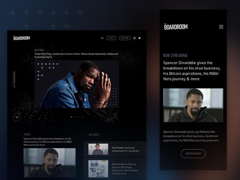 Boardroom Website Redesign responsive mobile basketball ux web design homepage nba boardroom kd kevin durant website web ui design