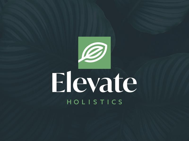 Elevate Holistics Logo nature logotype square vector logo design logo leaf elevate holistics elevate design branding brand