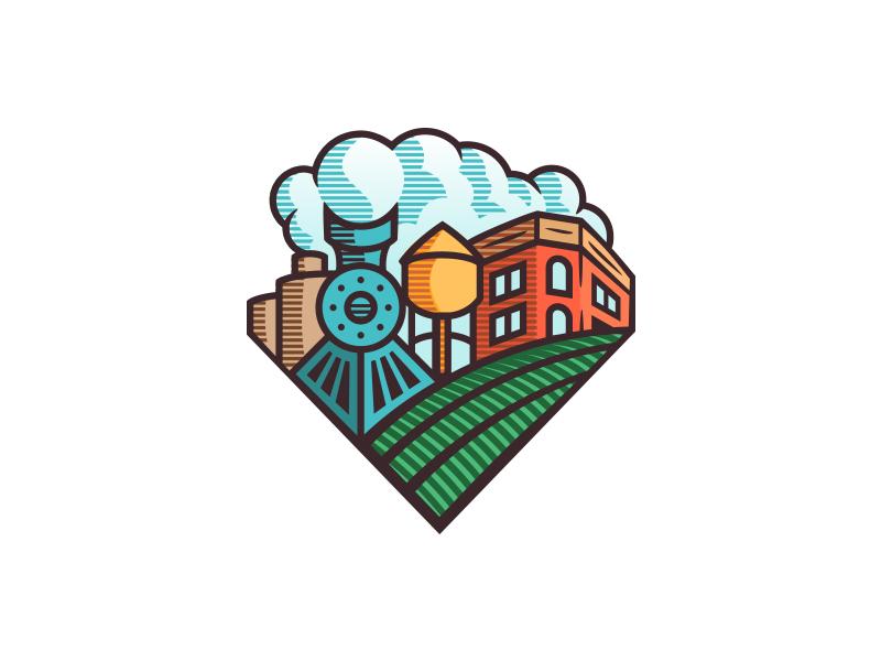 Woodcut badge color1