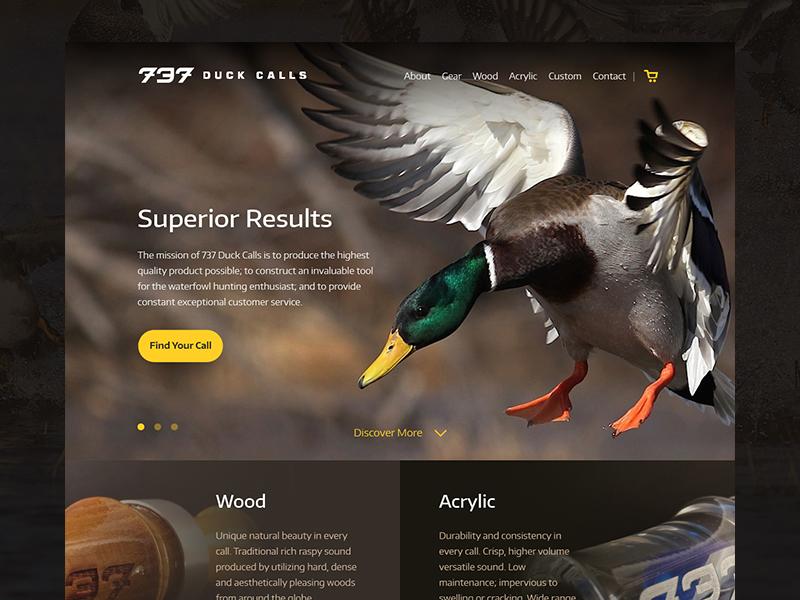 737 Duck Calls Ecommerce duck calls duck homepage web ux ui ecommerce design web design website