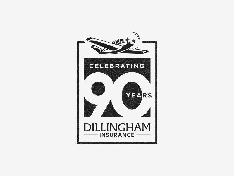 Dillingham 90th Logo - Black logo branding design logo design airplane vector illustrator gold 90 90th anniversary dillingham