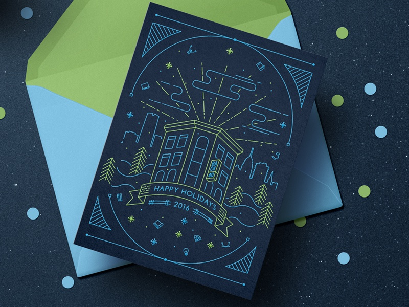 Back40 2016 Holiday Card graphic design greeting card holiday back40 green blue lines card flat vector design christmas