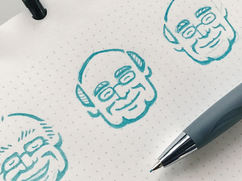 """The Doc"" (Logo Mark Sketching) sketch hand drawn drawing character design character branding blue pencil logo design logo design illustration"