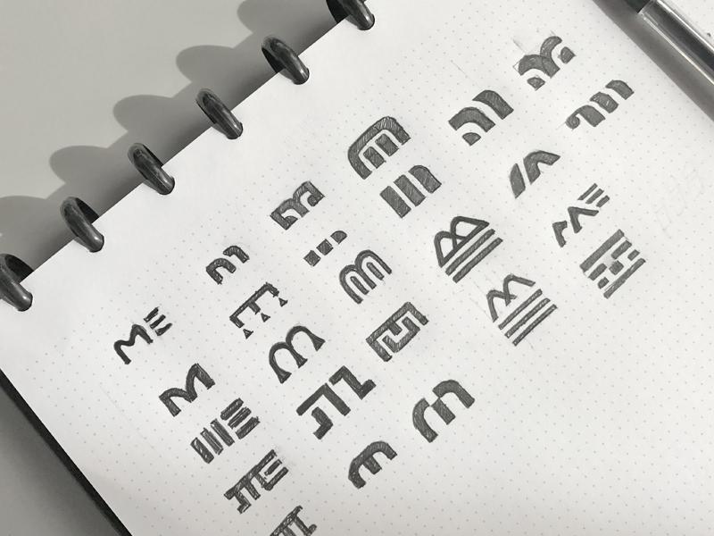M Logo Sketches pencil m sketch mark flat icon branding brand concept design logo design logo