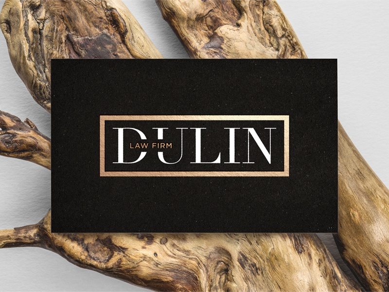 Dulin Law Firm Logo business card fashion gold black lettering type branding brand concept design logo design logo