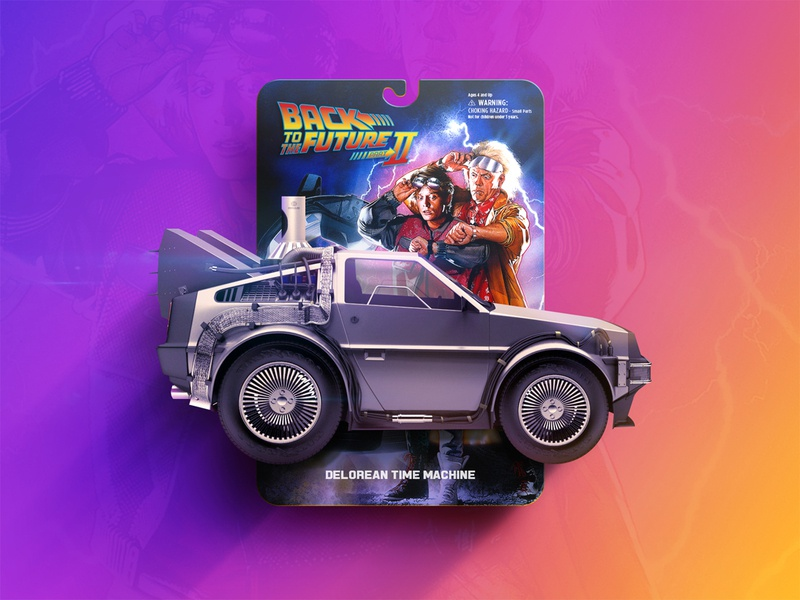 BTTF2 Delorean Micro Machine micro 80s retro photoshop packaging movie design micro machine delorean bttf back to the future car