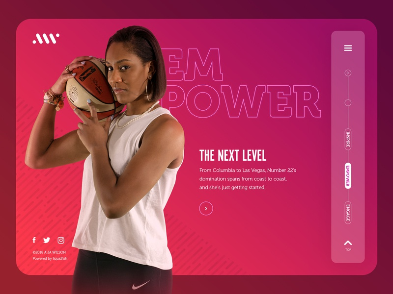 A'ja Wilson Website: Empower Landing