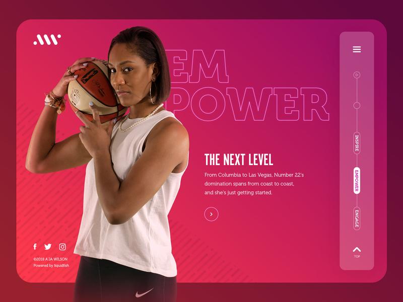 A'ja Wilson Website: Empower Landing aja wilson wnba web design ui design photography homepage desktop basketball website web ux ui