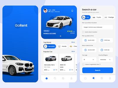 GoRent : Car Rental App vehicle booking rental app car rental car rental app rental vector branding logo webdesign illustration design appdesign graphic design dailyui ui
