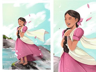 Sea Maiden character design animation illustration
