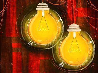 Enlighten me red current glow yellow love light bulb